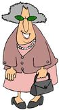 Old woman dressed in shoes of pink stock photo
