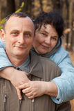 Old woman embrace  old man Stock Photography