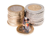 Old woman and euro money royalty free stock photography