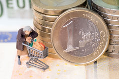 Old woman and euro money Stock Images