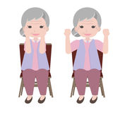Old woman exercises Stock Photography