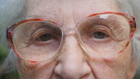 Old woman in eyeglasses looking into camera. Eyes of an elderly lady with wrinkles around them. Close up portrait of