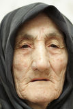 Old woman face. Very old woman face closeup portrait Stock Photos