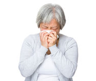 Old woman feel sick Stock Image