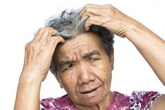 Old woman felt a lot of anxiety about hair loss issue on white background. Scalp problem concept Stock Photos