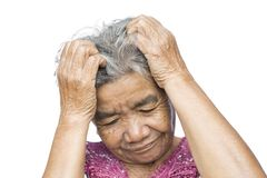 Old woman felt a lot of anxiety about hair loss and itching dandruff issue. On white background, scalp problem concept Royalty Free Stock Image