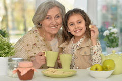 Old woman with girl drinking tea Royalty Free Stock Image