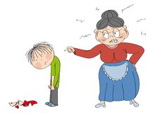 Old woman, granny, angry with her grandson, pointing at him. Broken cup laying on the floor. Boy is looking sad. Old woman, granny, angry with her grandson stock illustration