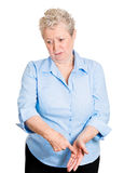 Old woman guilty about something Stock Image