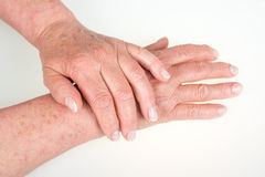 Old woman hands isolated Royalty Free Stock Photos