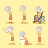 Old woman has different problem Stock Photography