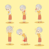 Old woman has different problem Royalty Free Stock Photography