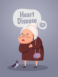 Old woman having Heart Attack, Cartoon Character Royalty Free Stock Images