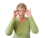 Old woman with a headache Royalty Free Stock Image