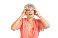 Old woman with a headache Stock Image