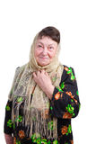 Old woman with a headscarf. Photo of an old woman with a headscarf tied round her head Stock Photos