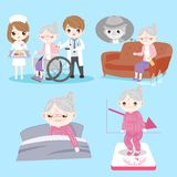 Old woman with health problem. On the blue background royalty free illustration