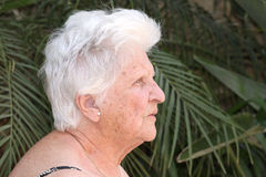 Old woman with hearing aid. A caucasian portrait of an elderly woman with a hearing aid Stock Photos