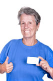 Old woman holding a credit card Stock Photo