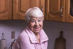 Old woman at home. Smiling Royalty Free Stock Photo