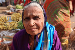 Old woman at Indian market Goa Stock Image