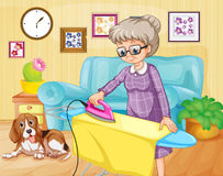 Old woman ironing clothes in a room. Illustration Stock Photography