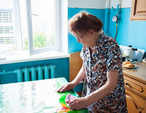 Old woman on the kitchen Stock Image