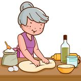 Old woman kneading dough and making bread in the kitchen. Grandmother kneading pastry or dough in the kitchen. Vector illustration Royalty Free Stock Photography