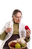 Old woman knits Royalty Free Stock Image