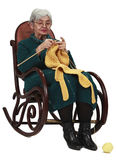 Old woman knitting. Image of an old woman sitting on a rocker and knitting, isolated against a white background Stock Photography