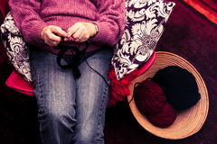 Old woman knitting Royalty Free Stock Images