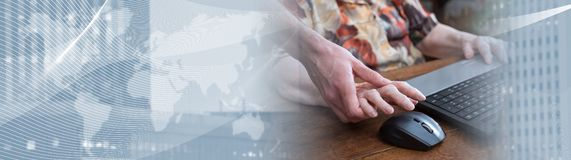 Training of an old person to new technologies. panoramic banner stock photos