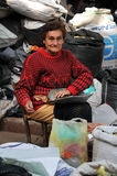 Old woman at a local street market Royalty Free Stock Photography