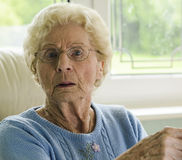 Old Woman Looking Ahead Royalty Free Stock Photos
