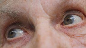 Old woman looking left with tired sight. Eyes of an elderly lady with wrinkles around them. Close up portrait of sad