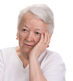 Old woman looking up Royalty Free Stock Photography