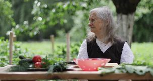 An old woman with loose gray hair is sitting at a table in the garden. Summer windy day. Vegetables and plate are on the wooden table. 4K footage stock video