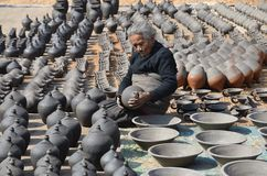 Old woman making pottery Royalty Free Stock Images