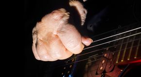 Old, woman, man hands  playing electric, acoustic guitar, black background, lifestyle Stock Photos