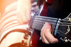 Old, woman, man  playing electric, acoustic guitar, black backgr. Ound, lifestyle Royalty Free Stock Photos