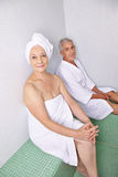 Old woman and man relaxing after Stock Photography