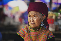 The old woman on the market in Bac Ha, Vietnam Stock Images