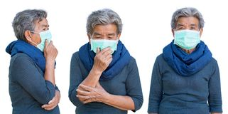 Old woman with mask coughing on white royalty free stock photo