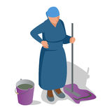 An old woman with a mop in her hand and a bucket is cleaning. Flat isometric vector illustration Stock Photography