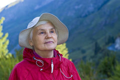 Old woman in mountain Royalty Free Stock Image