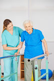 Old woman at movement exercise Royalty Free Stock Images
