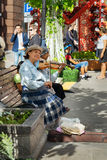 Old woman musician Royalty Free Stock Photos