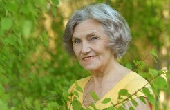 Old woman near the the tree branches Stock Images