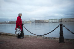 Old woman Neva river Saint Petersburg Royalty Free Stock Photo