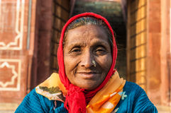 An old woman with a nose ring Stock Photo